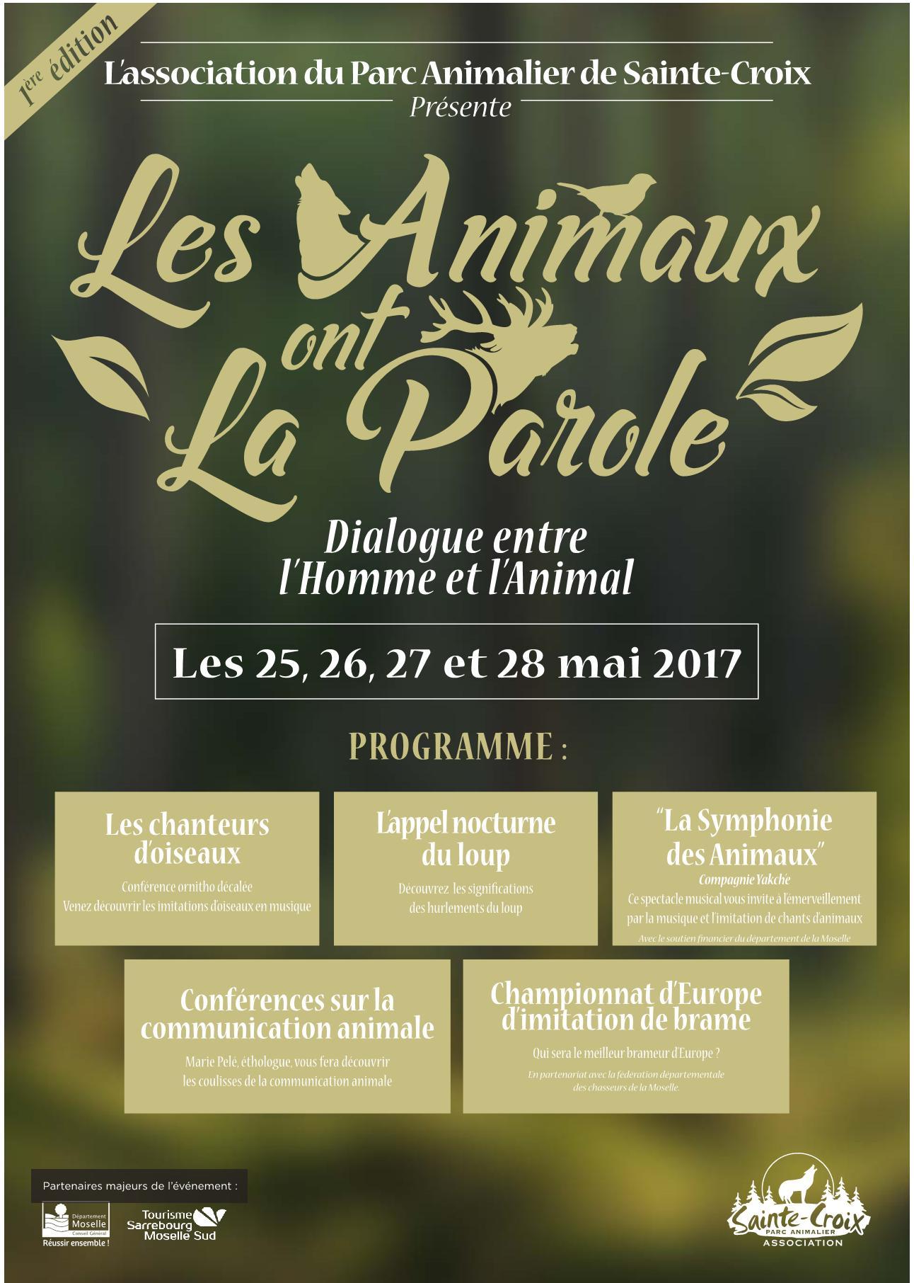 Programme Les Animaux Ont la Parole Parc Sainte-Croix